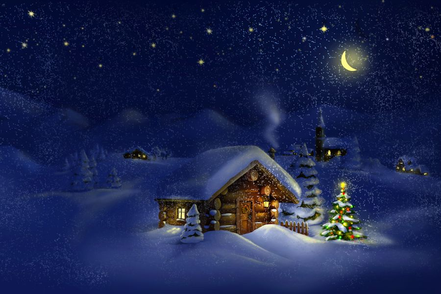 Kerstkaarten verzenden: Kerstdorp in de sneeuw met een verlichte ...